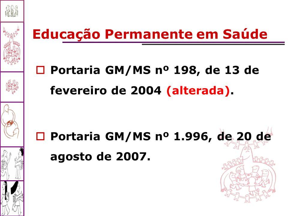 Educação Permanente em Saúde Portaria GM/MS nº 198, de 13 de fevereiro de 2004 (alterada). Portaria GM/MS nº 1.996, de 20 de agosto de 2007.
