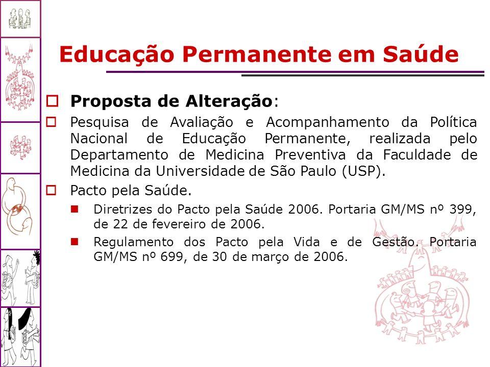 Educação Permanente em Saúde Proposta de Alteração: Pesquisa de Avaliação e Acompanhamento da Política Nacional de Educação Permanente, realizada pelo