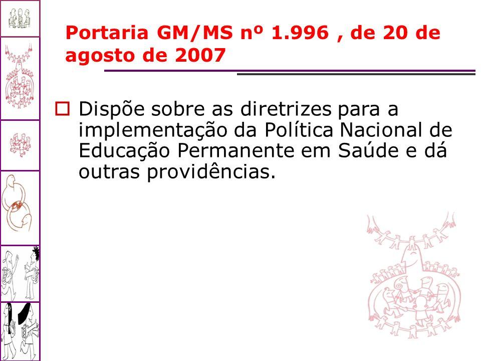 Portaria GM/MS nº 1.996, de 20 de agosto de 2007 Dispõe sobre as diretrizes para a implementação da Política Nacional de Educação Permanente em Saúde