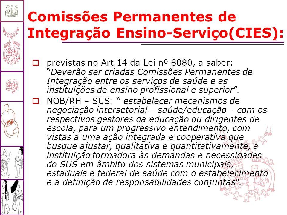 Comissões Permanentes de Integração Ensino-Serviço(CIES): previstas no Art 14 da Lei nº 8080, a saber:Deverão ser criadas Comissões Permanentes de Int