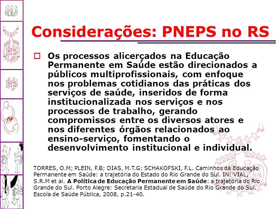 Considerações: PNEPS no RS Os processos alicerçados na Educação Permanente em Saúde estão direcionados a públicos multiprofissionais, com enfoque nos