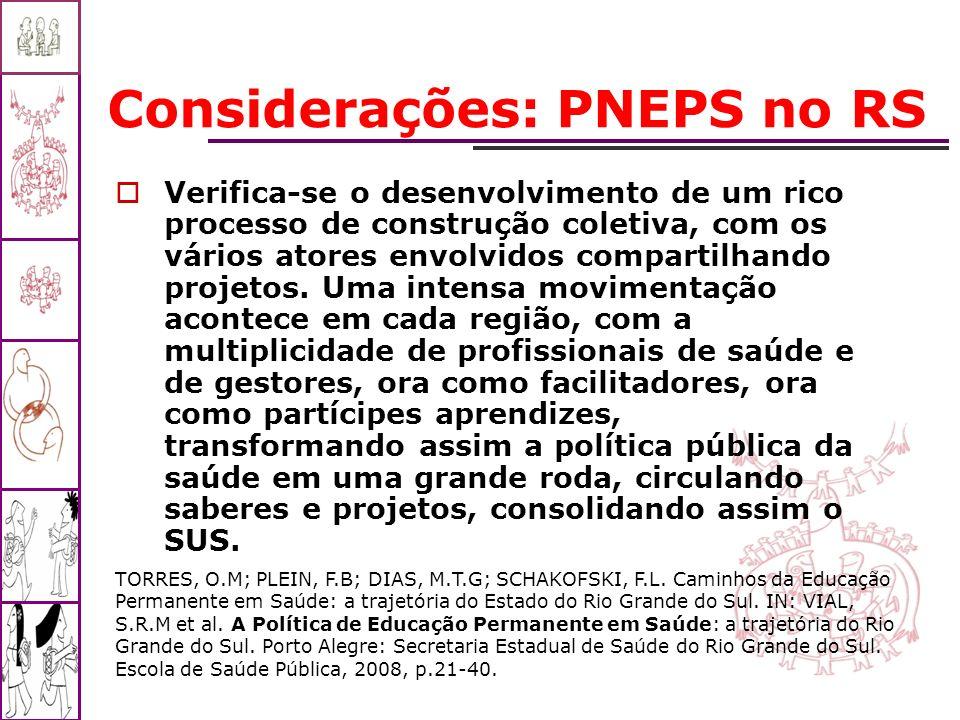 Considerações: PNEPS no RS Verifica-se o desenvolvimento de um rico processo de construção coletiva, com os vários atores envolvidos compartilhando pr