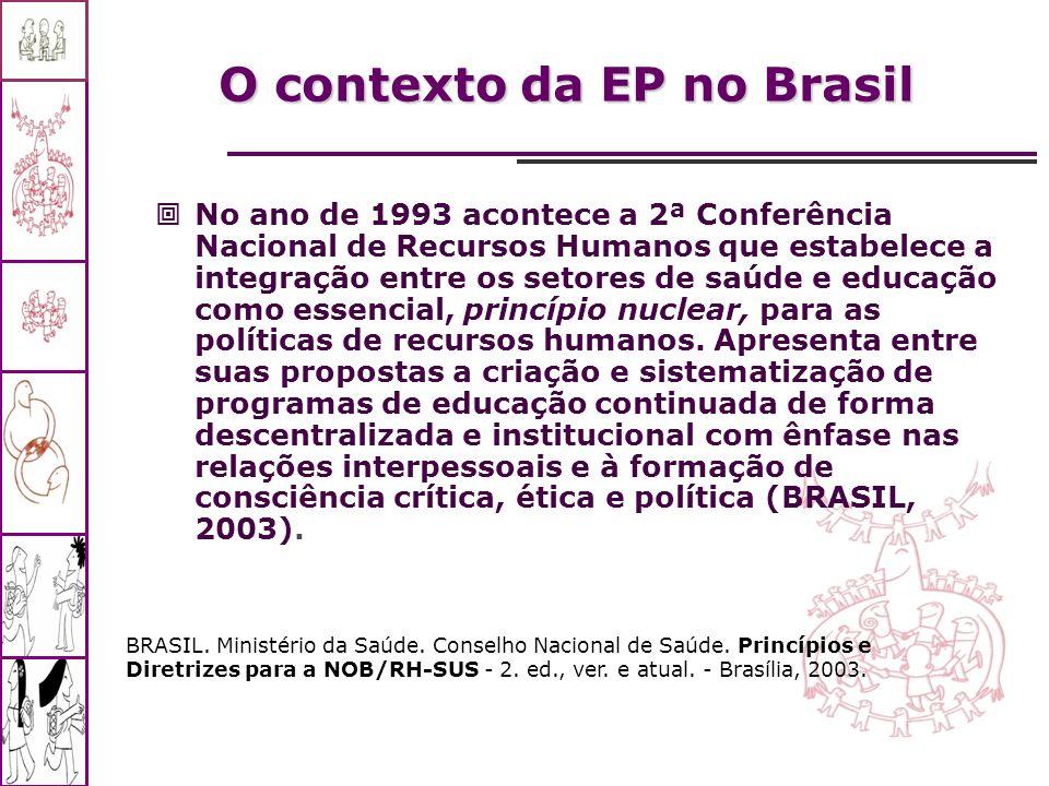 No ano de 1993 acontece a 2ª Conferência Nacional de Recursos Humanos que estabelece a integração entre os setores de saúde e educação como essencial,