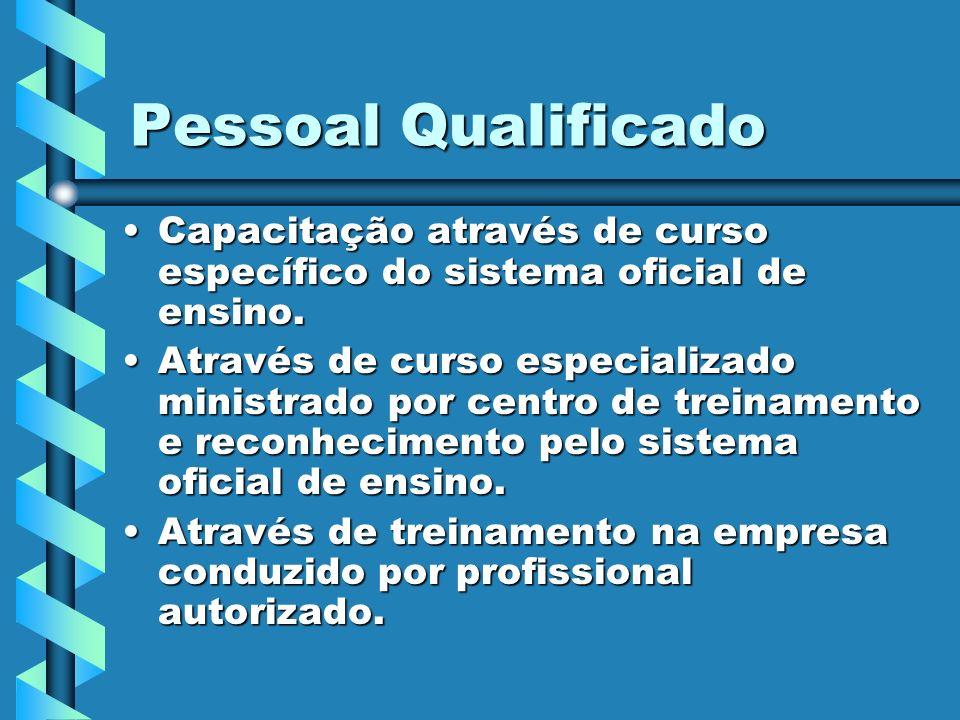 Pessoal Qualificado Capacitação através de curso específico do sistema oficial de ensino.Capacitação através de curso específico do sistema oficial de