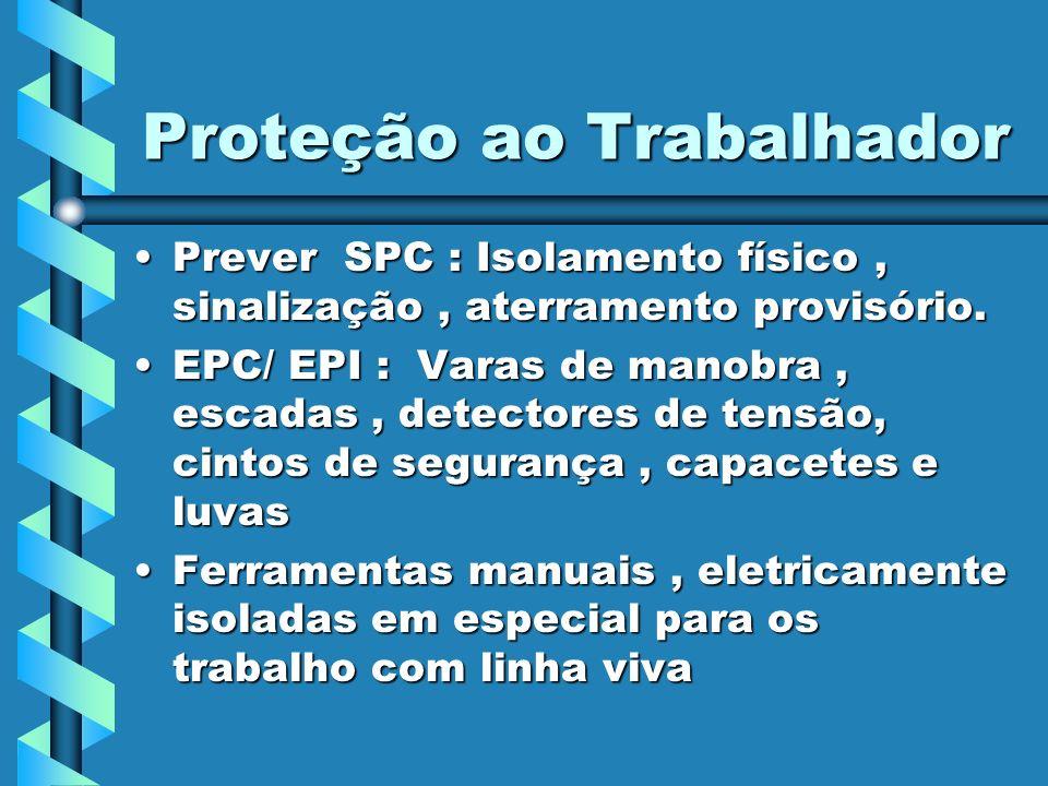 Proteção ao Trabalhador Prever SPC : Isolamento físico, sinalização, aterramento provisório.Prever SPC : Isolamento físico, sinalização, aterramento p