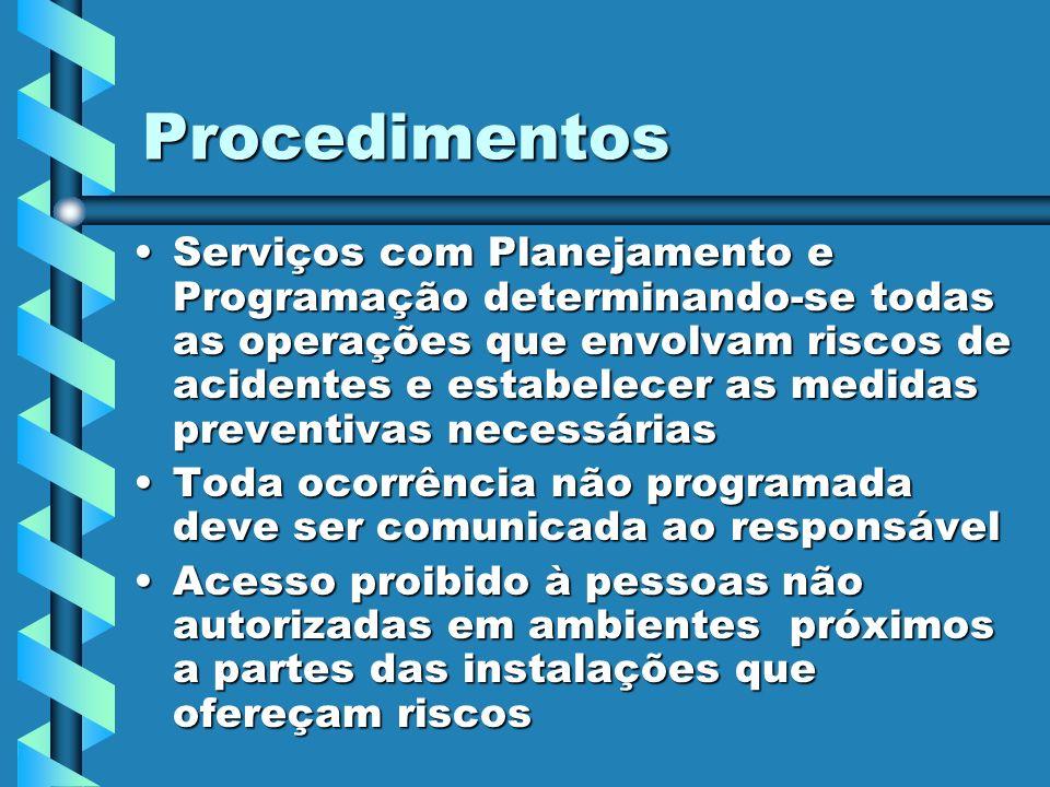 Procedimentos Serviços com Planejamento e Programação determinando-se todas as operações que envolvam riscos de acidentes e estabelecer as medidas pre