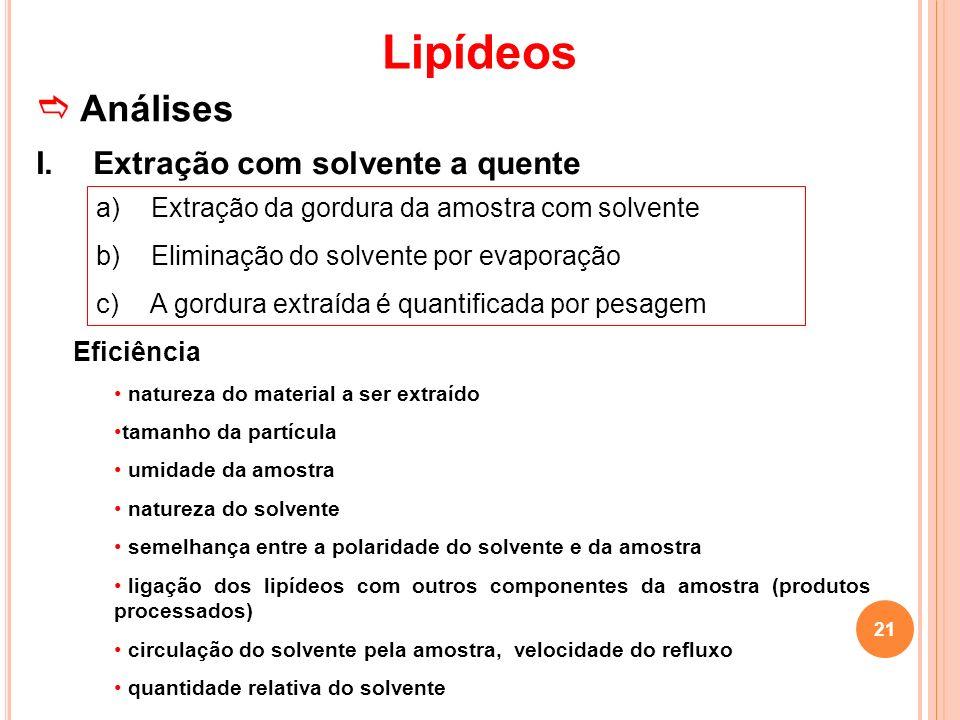 Lipídeos Análises I. Extração com solvente a quente a) Extração da gordura da amostra com solvente b) Eliminação do solvente por evaporação c) A gordu