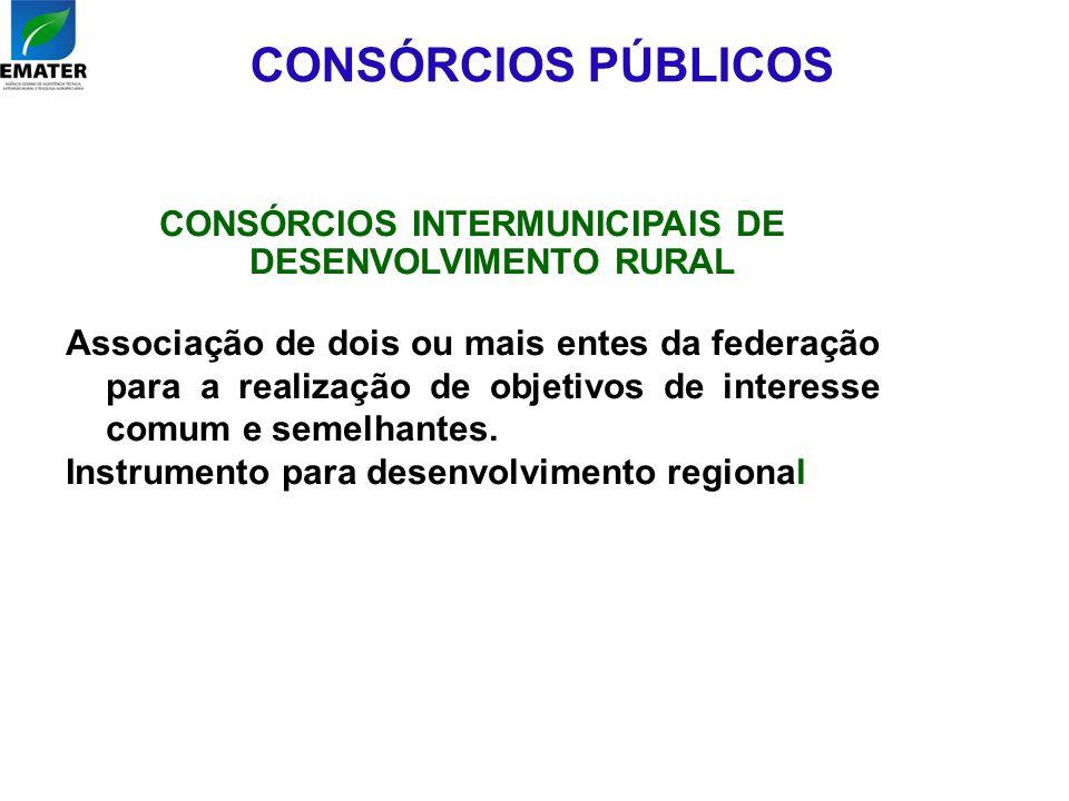 CONSÓRCIOS PÚBLICOS CONSÓRCIOS INTERMUNICIPAIS DE DESENVOLVIMENTO RURAL Associação de dois ou mais entes da federação para a realização de objetivos d