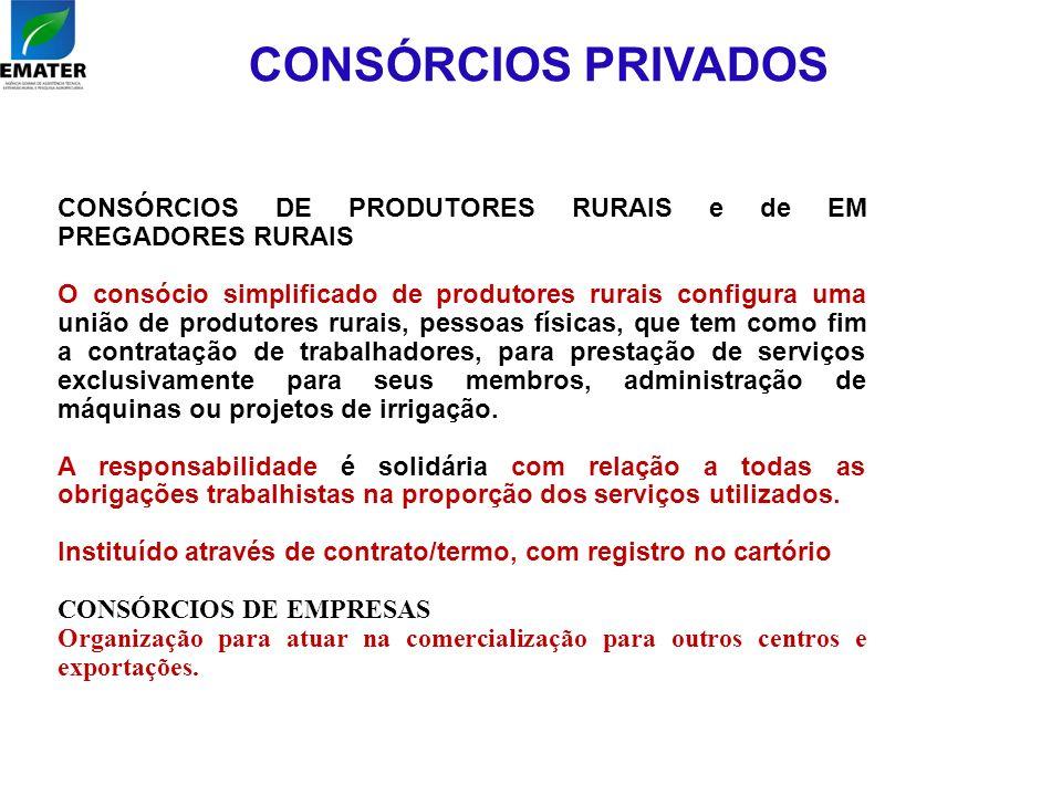 CONSÓRCIOS PRIVADOS CONSÓRCIOS DE PRODUTORES RURAIS e de EM PREGADORES RURAIS O consócio simplificado de produtores rurais configura uma união de prod