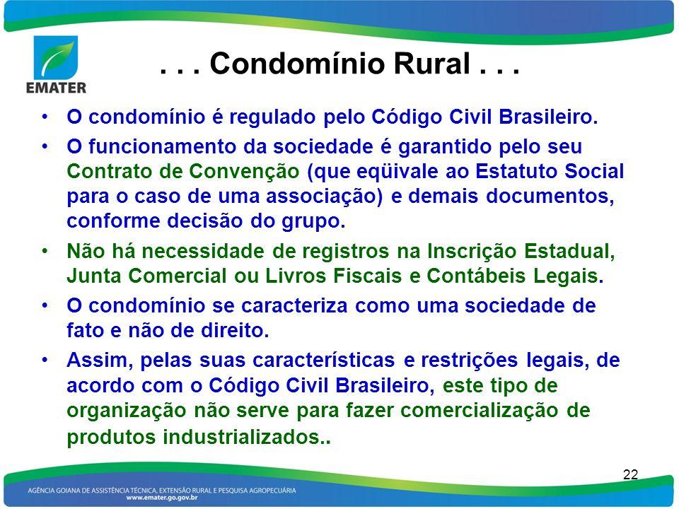 ... Condomínio Rural... O condomínio é regulado pelo Código Civil Brasileiro. O funcionamento da sociedade é garantido pelo seu Contrato de Convenção
