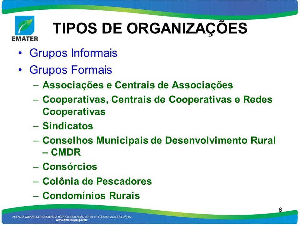 TIPOS DE ORGANIZAÇÕES Grupos Informais Grupos Formais –Associações e Centrais de Associações –Cooperativas, Centrais de Cooperativas e Redes Cooperati