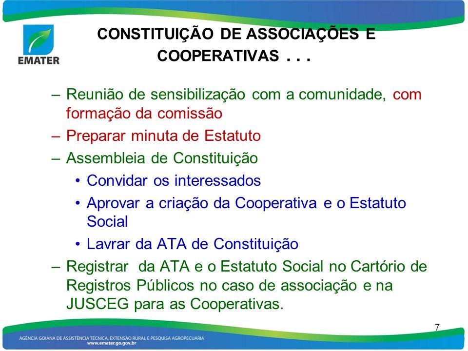 CONSTITUIÇÃO DE ASSOCIAÇÕES E COOPERATIVAS... –Reunião de sensibilização com a comunidade, com formação da comissão –Preparar minuta de Estatuto –Asse