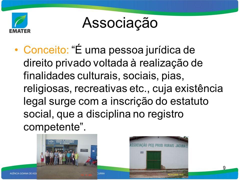 Associação Conceito: É uma pessoa jurídica de direito privado voltada à realização de finalidades culturais, sociais, pias, religiosas, recreativas et