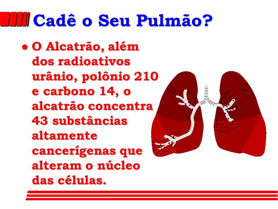 Cadê o Seu Pulmão? l O Alcatrão, além dos radioativos urânio, polônio 210 e carbono 14, o alcatrão concentra 43 substâncias altamente cancerígenas que