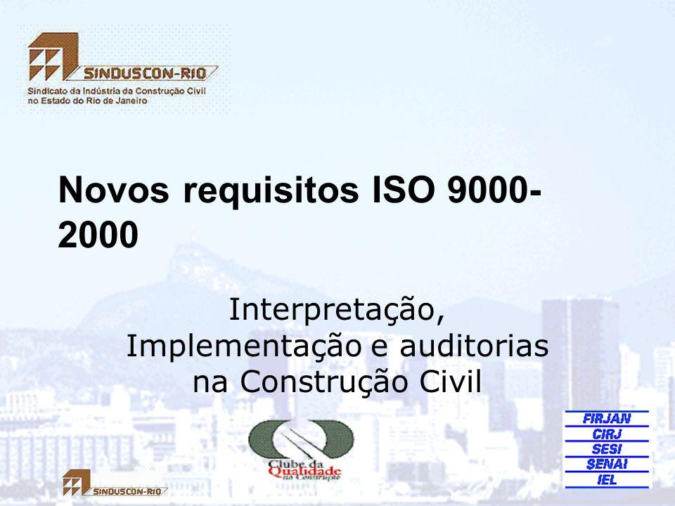 Seminário Novos Requisitos ISO 9000-2000 62 7.3 Implantação 7.3.4 Análise Crítica: análise do Processo de Projeto como um todo, em momentos planejados; 7.3.5 Verificação: comparar saída com entrada por estágio; 7.3.6 Validação: aprovação da saída do processo de projeto atestando que o produto resultante é capaz de atender as exigências de aplicação especificadas ou uso intencional.