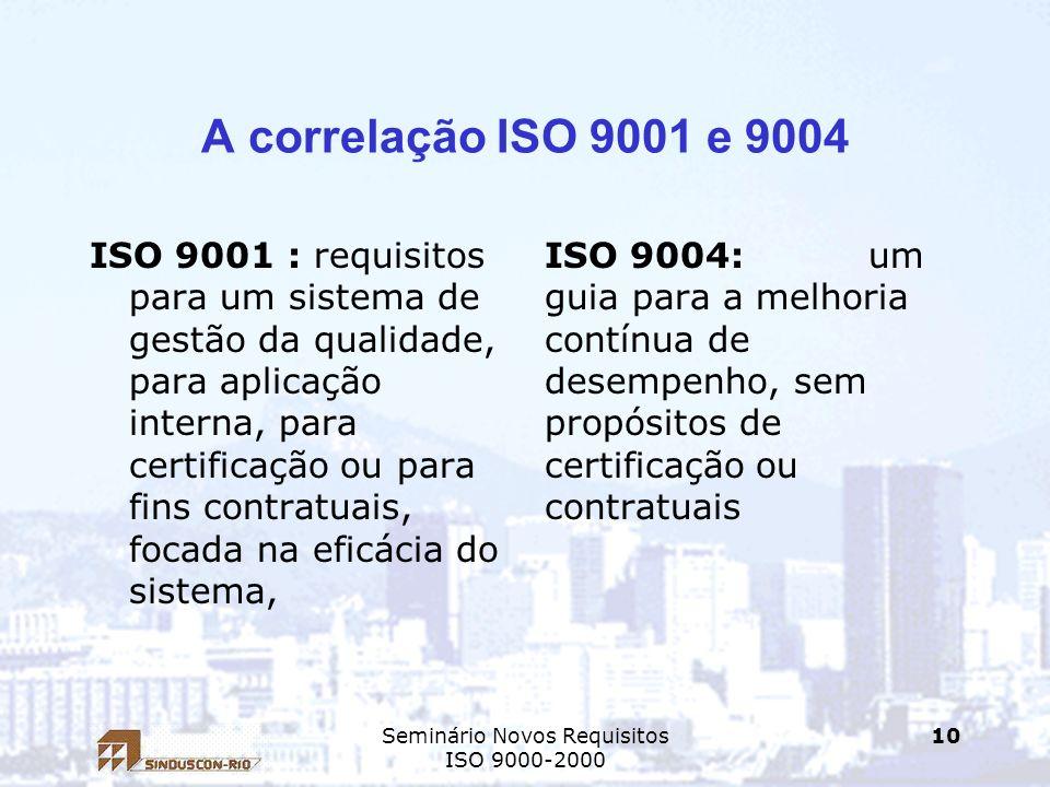 Seminário Novos Requisitos ISO 9000-2000 10 A correlação ISO 9001 e 9004 ISO 9001 : requisitos para um sistema de gestão da qualidade, para aplicação
