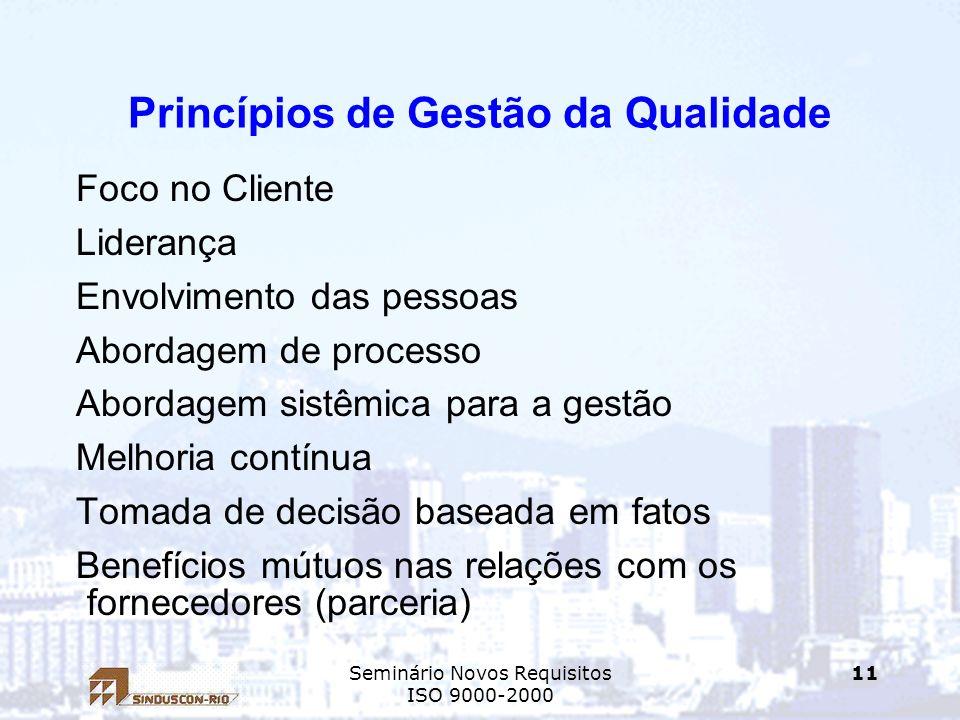 Seminário Novos Requisitos ISO 9000-2000 11 Princípios de Gestão da Qualidade Foco no Cliente Liderança Envolvimento das pessoas Abordagem de processo