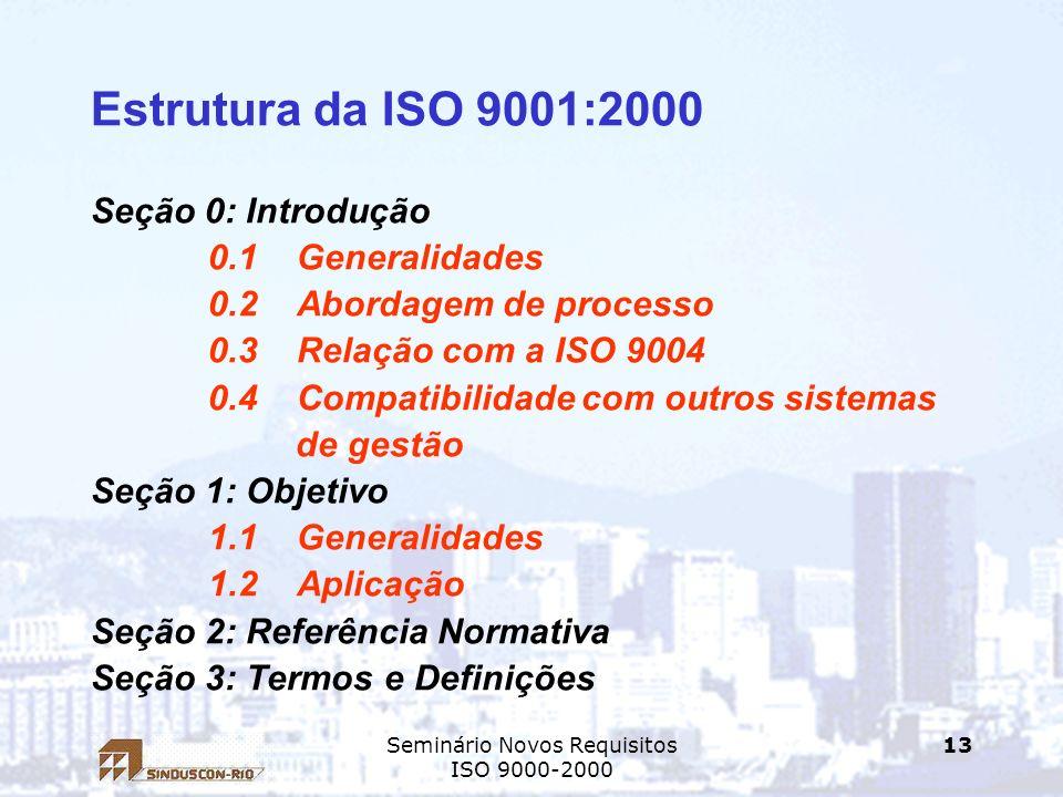 Seminário Novos Requisitos ISO 9000-2000 13 Estrutura da ISO 9001:2000 Seção 0: Introdução 0.1 Generalidades 0.2 Abordagem de processo 0.3 Relação com