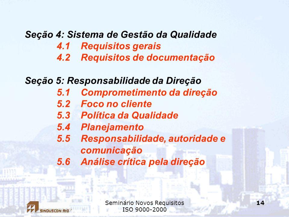 Seminário Novos Requisitos ISO 9000-2000 14 Seção 4: Sistema de Gestão da Qualidade 4.1 Requisitos gerais 4.2 Requisitos de documentação Seção 5: Resp