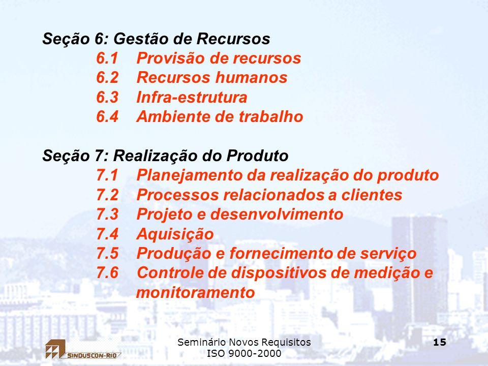 Seminário Novos Requisitos ISO 9000-2000 15 Seção 6: Gestão de Recursos 6.1 Provisão de recursos 6.2 Recursos humanos 6.3 Infra-estrutura 6.4 Ambiente