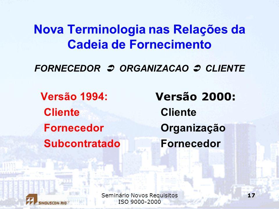 Seminário Novos Requisitos ISO 9000-2000 17 Nova Terminologia nas Relações da Cadeia de Fornecimento FORNECEDOR ORGANIZACAO CLIENTE Versão 1994: Clien