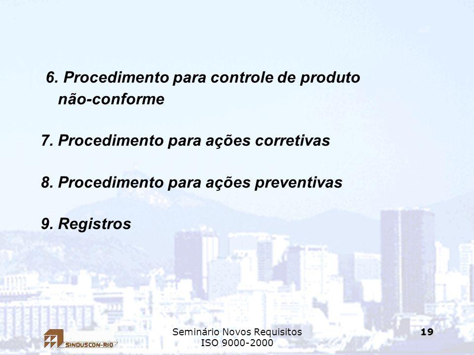 Seminário Novos Requisitos ISO 9000-2000 19 6. Procedimento para controle de produto não-conforme 7. Procedimento para ações corretivas 8. Procediment