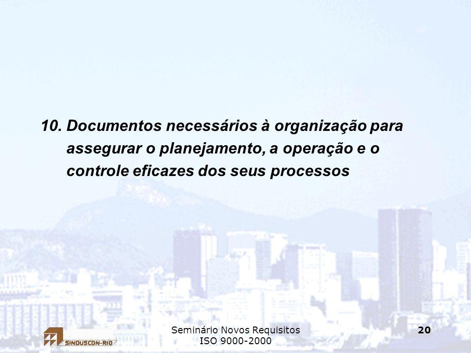Seminário Novos Requisitos ISO 9000-2000 20 10. Documentos necessários à organização para assegurar o planejamento, a operação e o controle eficazes d