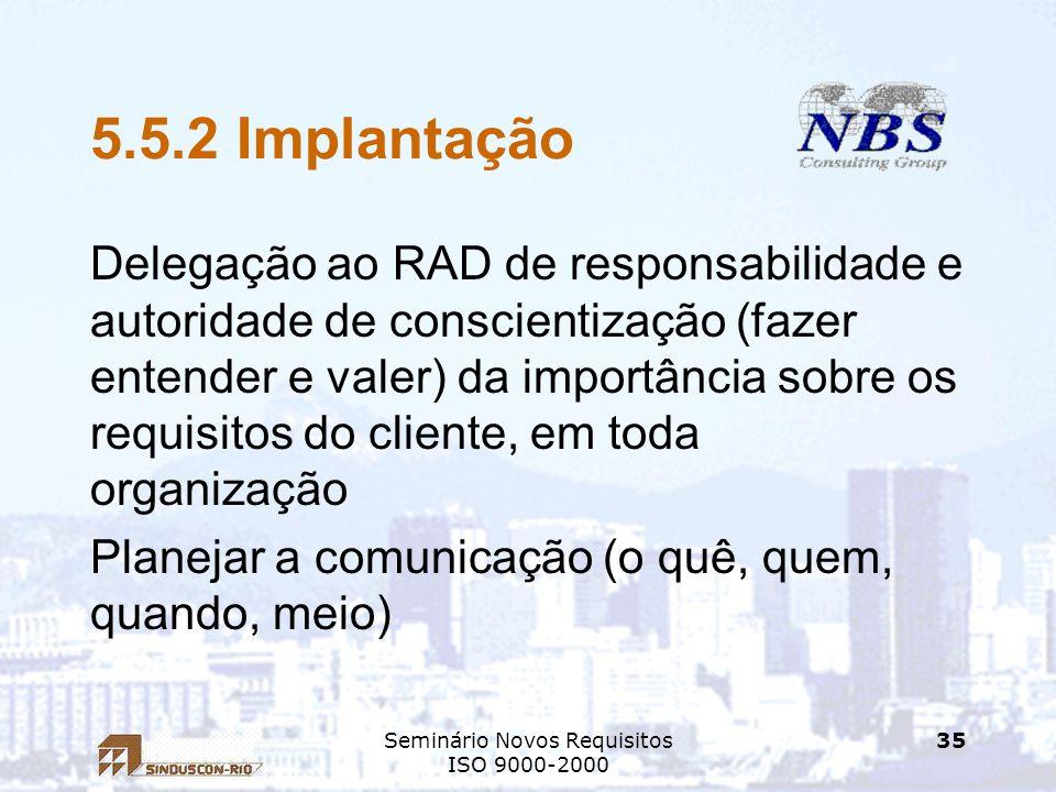 Seminário Novos Requisitos ISO 9000-2000 35 5.5.2 Implantação Delegação ao RAD de responsabilidade e autoridade de conscientização (fazer entender e v