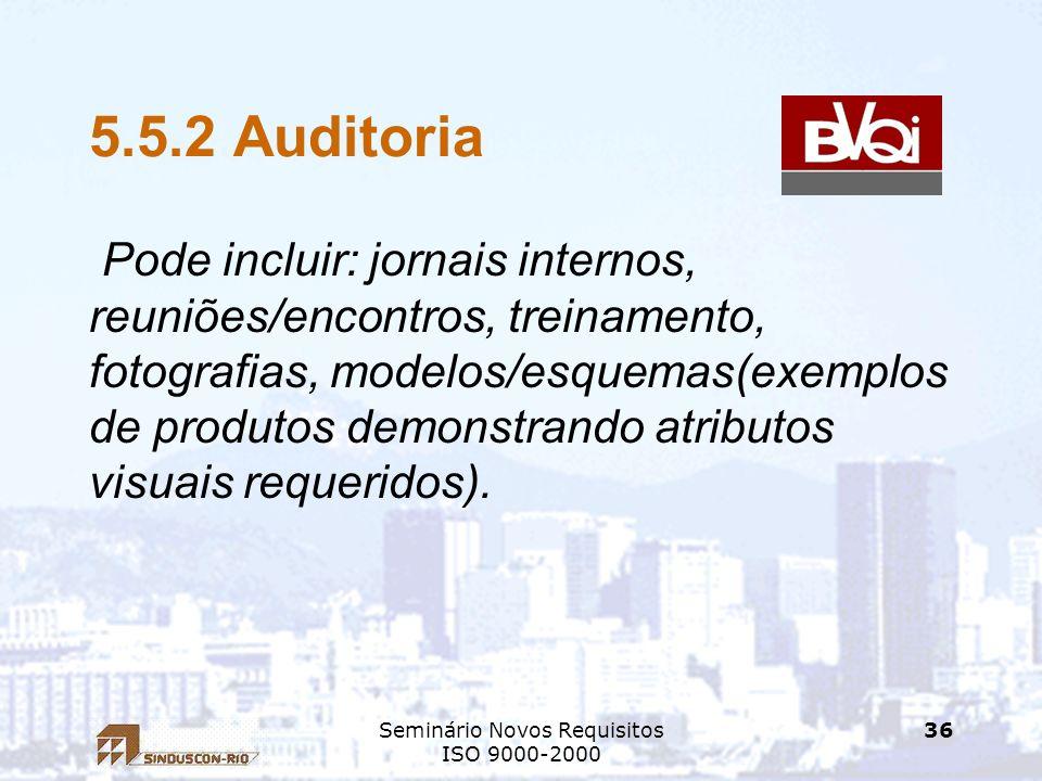 Seminário Novos Requisitos ISO 9000-2000 36 5.5.2 Auditoria Pode incluir: jornais internos, reuniões/encontros, treinamento, fotografias, modelos/esqu