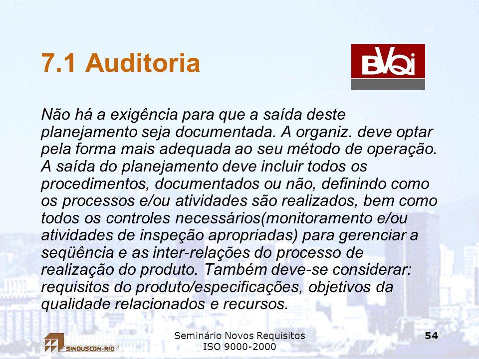 Seminário Novos Requisitos ISO 9000-2000 54 7.1 Auditoria Não há a exigência para que a saída deste planejamento seja documentada. A organiz. deve opt