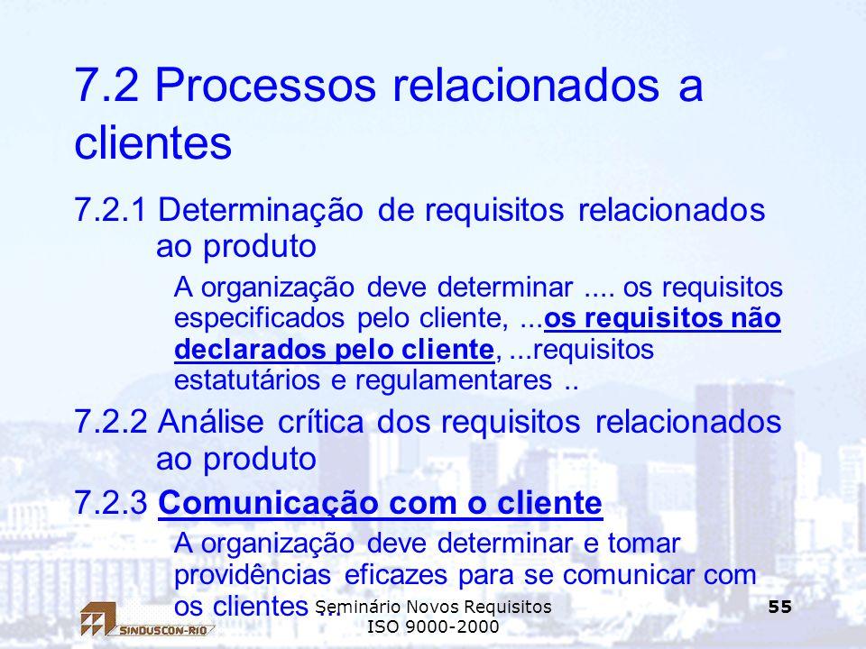 Seminário Novos Requisitos ISO 9000-2000 55 7.2 Processos relacionados a clientes 7.2.1 Determinação de requisitos relacionados ao produto A organizaç