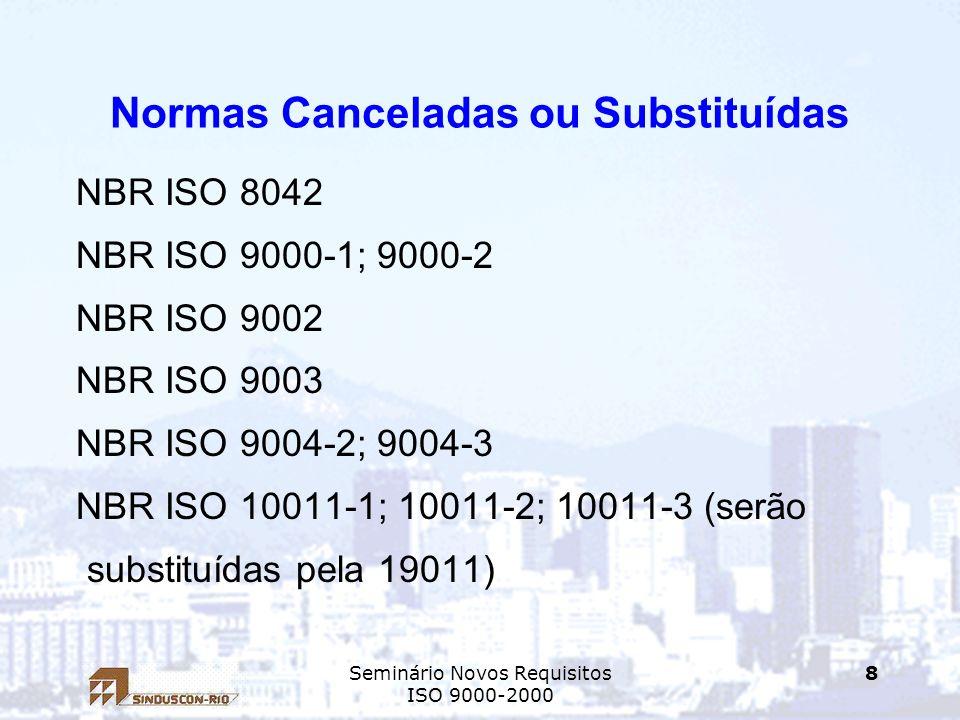 Seminário Novos Requisitos ISO 9000-2000 8 Normas Canceladas ou Substituídas NBR ISO 8042 NBR ISO 9000-1; 9000-2 NBR ISO 9002 NBR ISO 9003 NBR ISO 900