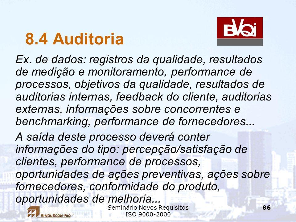 Seminário Novos Requisitos ISO 9000-2000 86 8.4 Auditoria Ex. de dados: registros da qualidade, resultados de medição e monitoramento, performance de