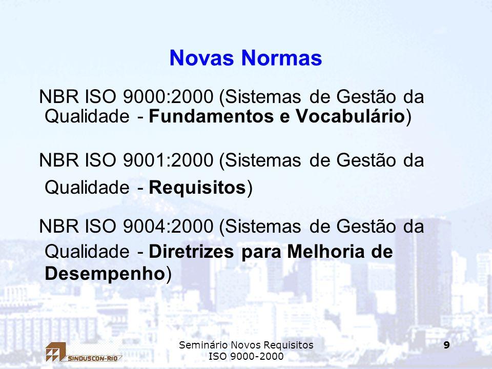 Seminário Novos Requisitos ISO 9000-2000 9 Novas Normas NBR ISO 9000:2000 (Sistemas de Gestão da Qualidade - Fundamentos e Vocabulário) NBR ISO 9001:2