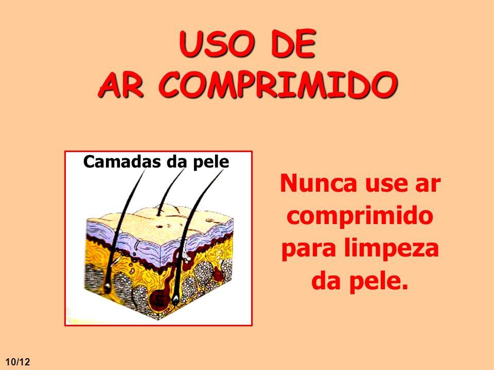 USO DE AR COMPRIMIDO Nunca use ar comprimido para limpeza da pele. Camadas da pele 10/12