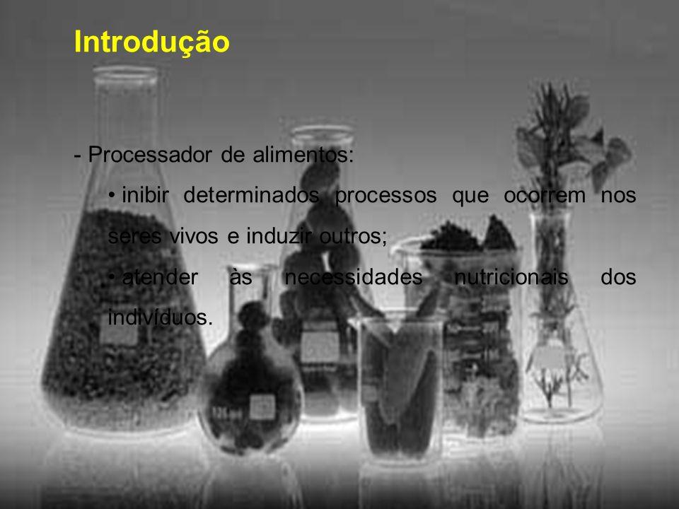 Introdução - Processador de alimentos: inibir determinados processos que ocorrem nos seres vivos e induzir outros; atender às necessidades nutricionai