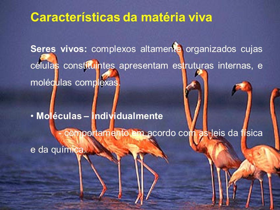 Características da matéria viva Seres vivos: complexos altamente organizados cujas células constituintes apresentam estruturas internas, e moléculas complexas.