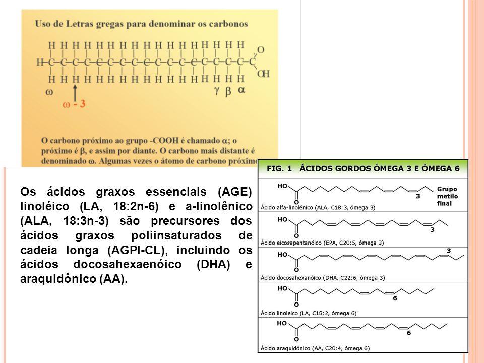 20 Os ácidos graxos essenciais (AGE) linoléico (LA, 18:2n-6) e a-linolênico (ALA, 18:3n-3) são precursores dos ácidos graxos poliinsaturados de cadeia