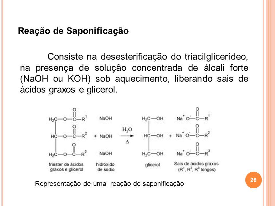 26 Reação de Saponificação Consiste na desesterificação do triacilglicerídeo, na presença de solução concentrada de álcali forte (NaOH ou KOH) sob aqu