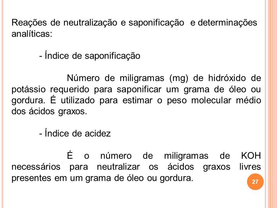 27 Reações de neutralização e saponificação e determinações analíticas: - Índice de saponificação Número de miligramas (mg) de hidróxido de potássio r