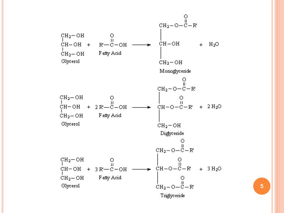 26 Reação de Saponificação Consiste na desesterificação do triacilglicerídeo, na presença de solução concentrada de álcali forte (NaOH ou KOH) sob aquecimento, liberando sais de ácidos graxos e glicerol.
