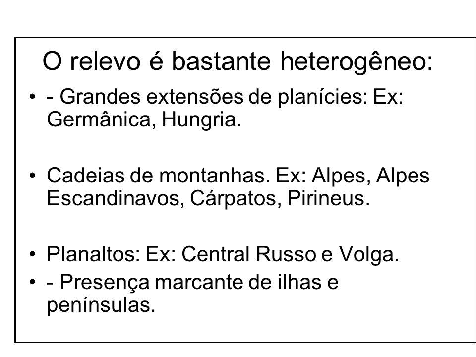 O relevo é bastante heterogêneo: - Grandes extensões de planícies: Ex: Germânica, Hungria. Cadeias de montanhas. Ex: Alpes, Alpes Escandinavos, Cárpat