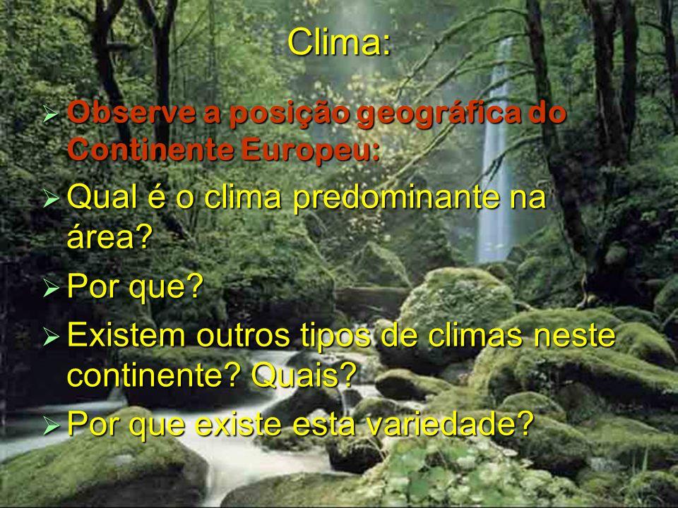 Clima: Observe a posição geográfica do Continente Europeu: Observe a posição geográfica do Continente Europeu: Qual é o clima predominante na área? Qu