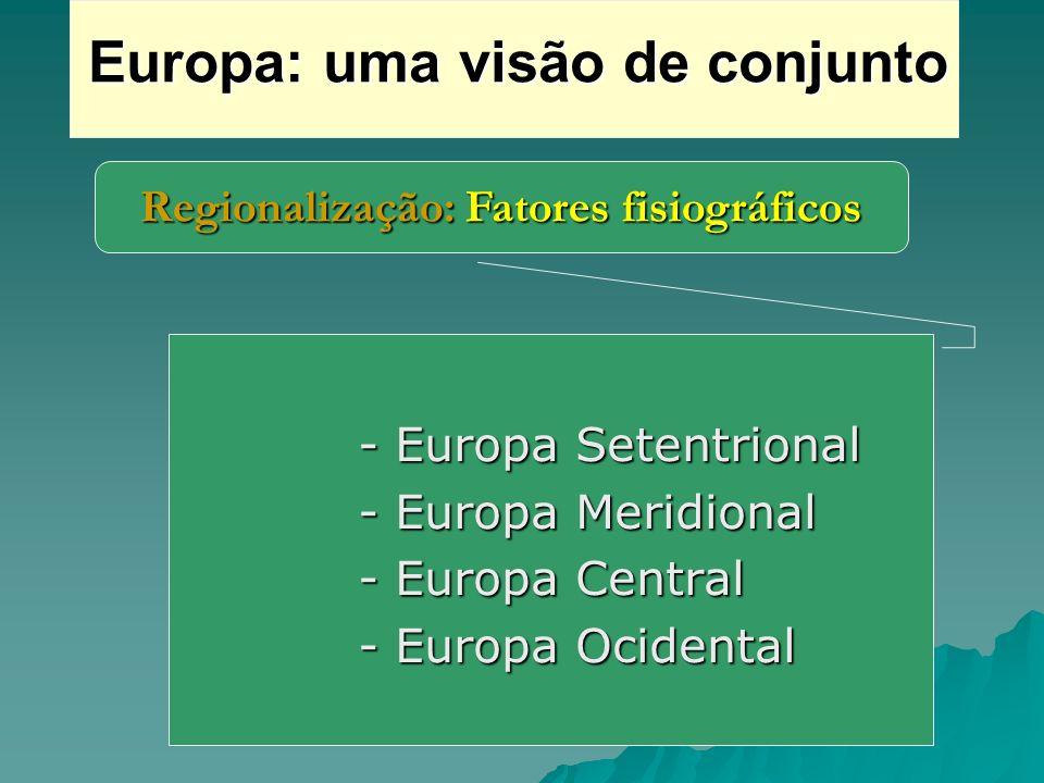 Regionalização: Fatores fisiográficos Europa: uma visão de conjunto - Europa Setentrional - Europa Setentrional - Europa Meridional - Europa Meridiona