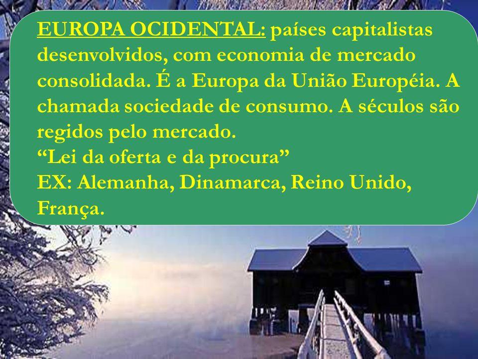 EUROPA OCIDENTAL: países capitalistas desenvolvidos, com economia de mercado consolidada. É a Europa da União Européia. A chamada sociedade de consumo