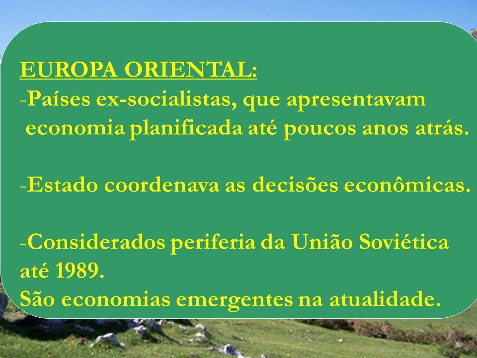 EUROPA ORIENTAL: -Países ex-socialistas, que apresentavam economia planificada até poucos anos atrás. -Estado coordenava as decisões econômicas. -Cons