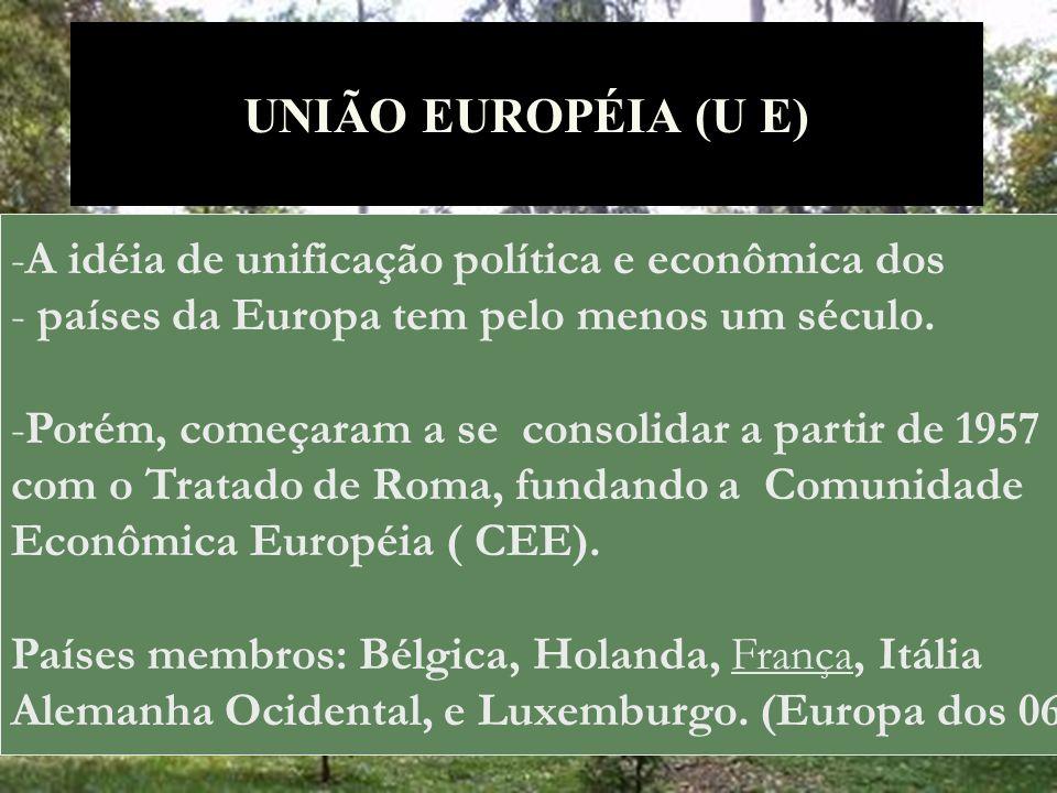 UNIÃO EUROPÉIA (U E) -A idéia de unificação política e econômica dos - países da Europa tem pelo menos um século. -Porém, começaram a se consolidar a