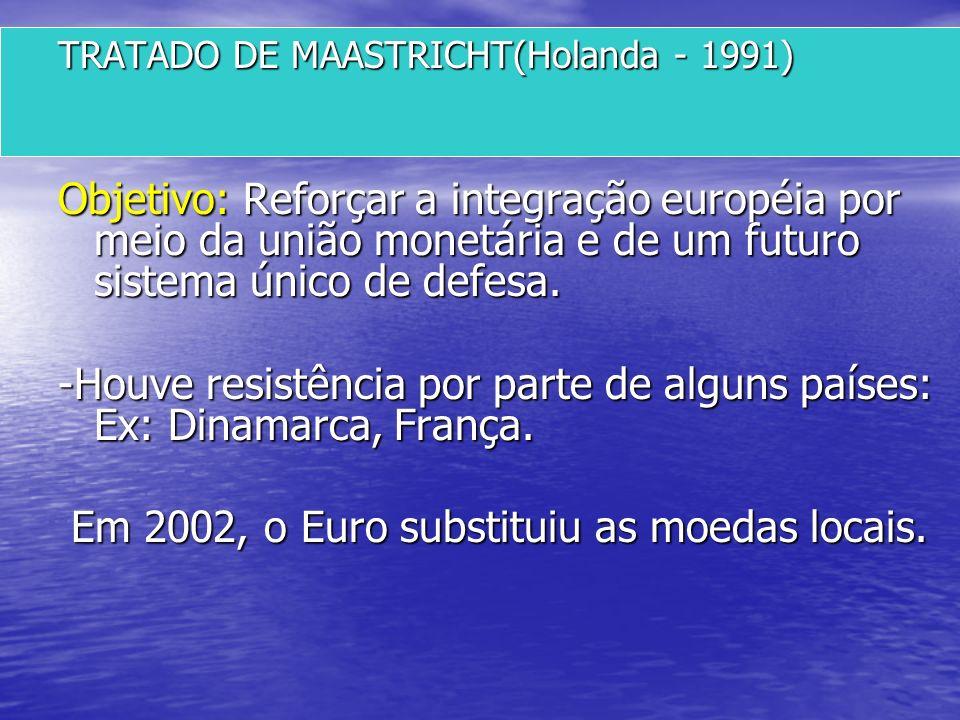 TRATADO DE MAASTRICHT(Holanda - 1991) Objetivo: Reforçar a integração européia por meio da união monetária e de um futuro sistema único de defesa. -Ho