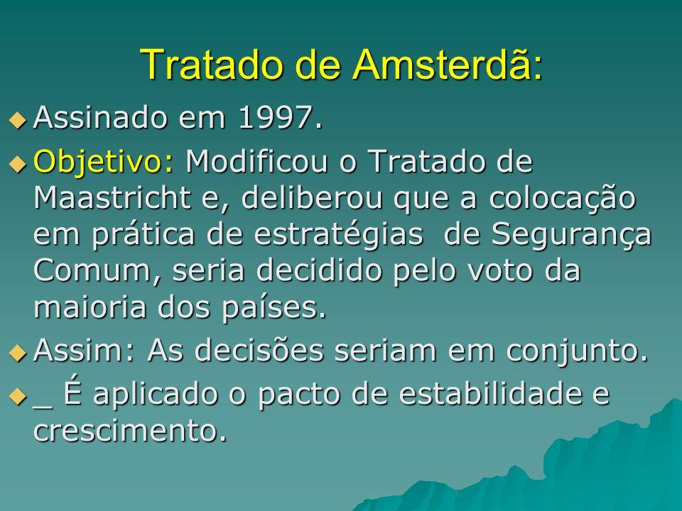 Tratado de Amsterdã: Assinado em 1997. Assinado em 1997. Objetivo: Modificou o Tratado de Maastricht e, deliberou que a colocação em prática de estrat