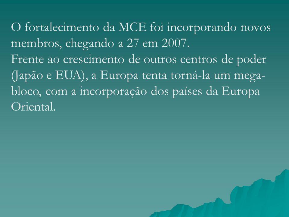 O fortalecimento da MCE foi incorporando novos membros, chegando a 27 em 2007. Frente ao crescimento de outros centros de poder (Japão e EUA), a Europ